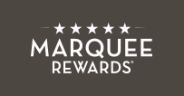 Marquee Rewards logo in white on black background.