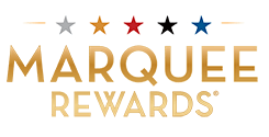 """Marquee Rewards"" in gold on a white background"