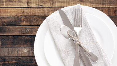 place setting on wooden table