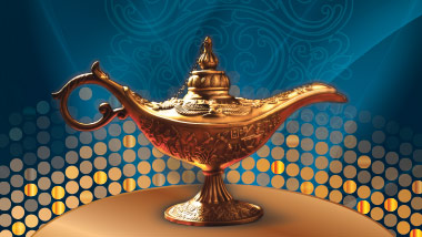 gold lamp on blue arabian background