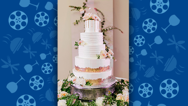 wedding cake with flowers and twigs